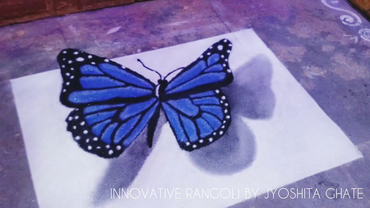 portrait rangoli 3d butterfly by jyoshita ghate