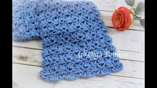 How To Crochet Easy Lacy Scarf For Autumn, Crochet Clusters And V-stitches, Crochet Video Tutorial