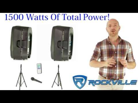 "Rockville RPG152K Dual 15"" Powered Speakers, Bluetooth+Mic+Speaker Stands+Cables Mp3"
