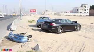 فيديو: اصطدام سيارة بنتلي نادرة وبورش باناميرا فى دبي
