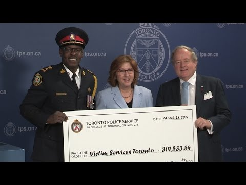 Chief Mark Saunders $300,000 Cheque Presentation to Victim Services Toronto