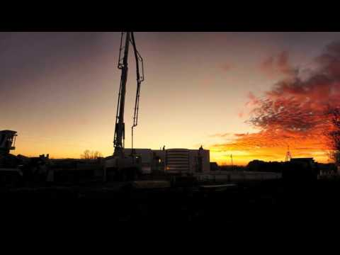 Building your ICF home - Concrete during sunset