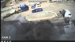 Цементовоз взорвался