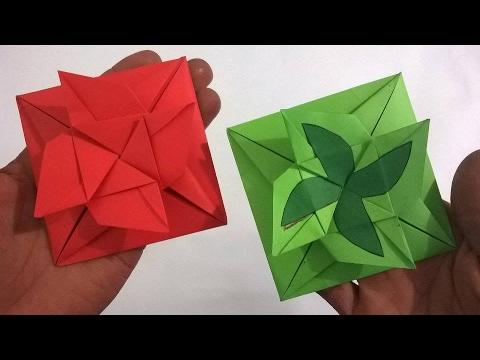 Cartasobre de papel que se dobla como una Rosa (Audio Español) -Origami paper envelope