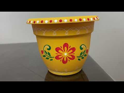 Tulasi pot painting using stencil   diy   in USA