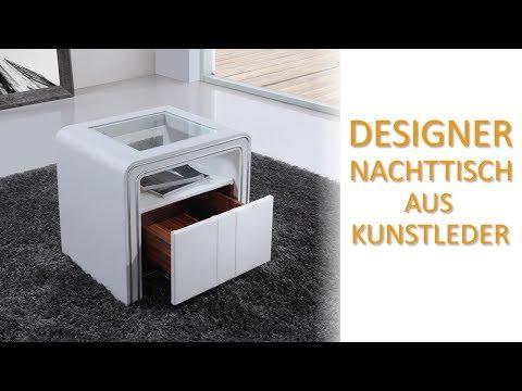 i-flair Designer Nachttisch aus Kunstleder und Echtglas - EINZIGARTIG