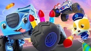 Police Car & Kitten Policeman   Monster Truck , Fire Truck   Cars for Kids   Kids Songs   BabyBus