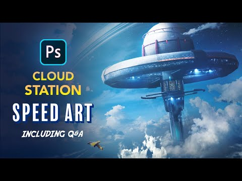 Creating a Cloud Station in Photoshop - Sci-Fi Speed Art including Q&A
