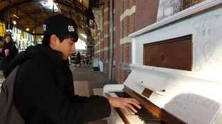 Yiruma's River flows in you & Pachelbel's Canon in D public piano cover @ station Nijmegen