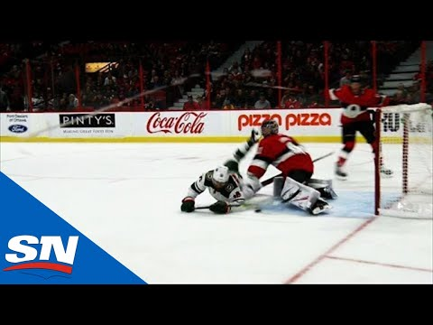 Craig Anderson Slow To Get Up After Taking Jason Zucker's Skate To His Mask