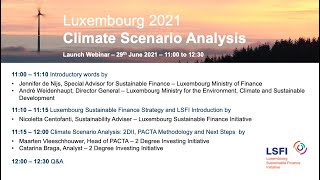 Luxembourg 2021 Climate Scenario Analysis – Launch