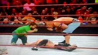 "WWE Royal Rumble 2011-Hornswoggle and John Cena did a double ""You Can't See Me"""