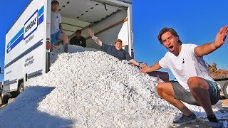 Driving moving truck filled with 10,000,000 packing PEANUTS!