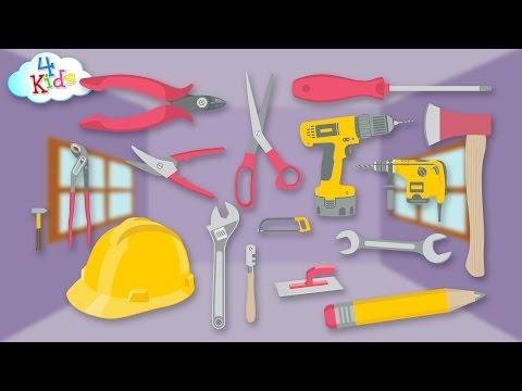 Viele Werkzeuge und Gegenstände im Handwerk lernen für Kinder und Kleinkinder