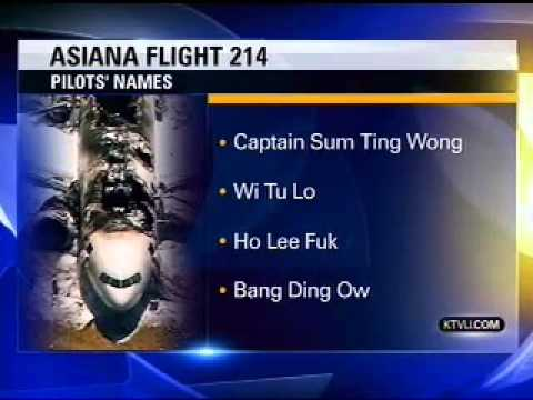 News Station Reports Asiana Flight 214 Pilots Names: