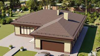 Проект дома 228-C, Площадь дома: 228 м2, Размер дома:  16,5x18,2 м