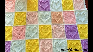 How To Crochet Popcorn Heart Blanket Afghan Pattern Tutorial By Marifu6a