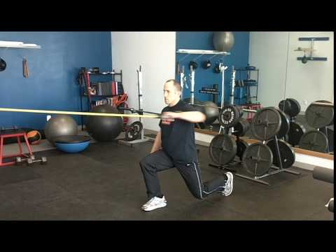 Reverse lunge with single arm row with band