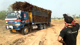รถพ่วงฮีโน่เครื่องK13c-360แรงม้า บรรทุกอ้อยออกจากไร่ งานเข้าซ่ะแล้วเจอดินทราย truck Thailand