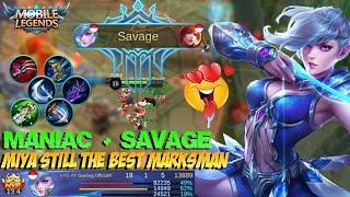 SAVAGE + MANIAC!!! MIYA Still The Best Marksman | Gameplay & Build - Mobile Legends Patch 2.08