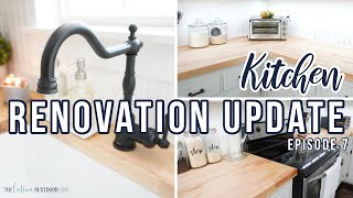 KITCHEN RENOVATION UPDATE | Installing Countertops, Farmhouse Sink And Gerber Faucet | Episode 7
