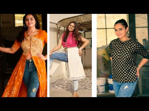 How to Style Kurties with JEANS | ft.Myntra #howtostyle #myntrakurties