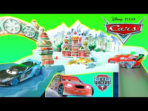Disney Pixar Cars Ice Racers Snowdrift Spinout Playset With Lightning McQueen & Mater Toys Playset