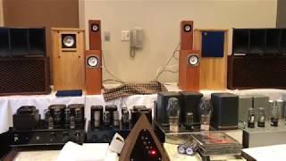 12A直熱型三極管アンプをオンケン砂入り木製ホーン+JBLD123で聴く