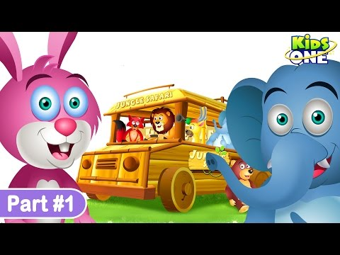 Wheels On The Bus | Jungle Safari | Part 1 | Wild Animals & Animal Sounds | Nursery Rhymes for Kids