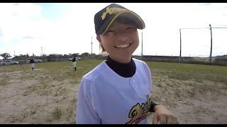明るい 楽しい 元気な 女子短大生 球場練習編 女子硬式野球部 ウォーミングアップ③