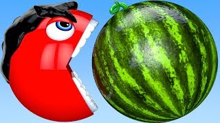 Learn Colors Hulk PACMAN and Farm Watermelon Surprise Toy Street Vehicle for Kid Children