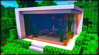 Minecraft Waterfall Modern House: How To Build A Cool Modern House Tutorial