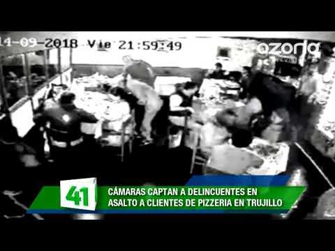 Cámaras de seguridad captaron a hampones en asalto a pizzería