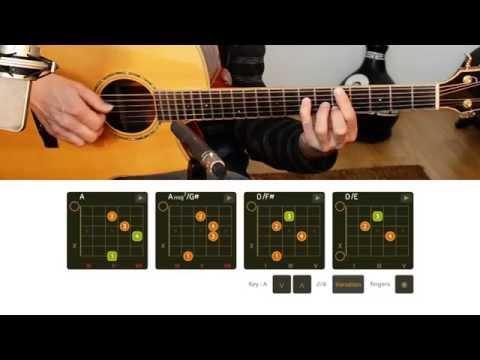 Guitar chords -  progressions with slash chords - descending bass - A major