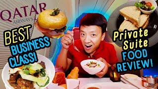 WORLD'S BEST BUSINESS CLASS! Qatar Airways PRIVATE SUITE Food Review