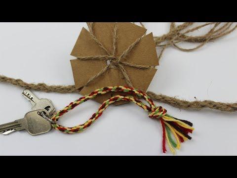 Kordel aus Wolle für einen Schlüsselanhänger selber basteln ❁ Schöne Bastelidee mit Kinder