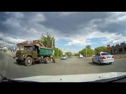 В Омске собака выпала из кузова грузовика и повисла на поводке