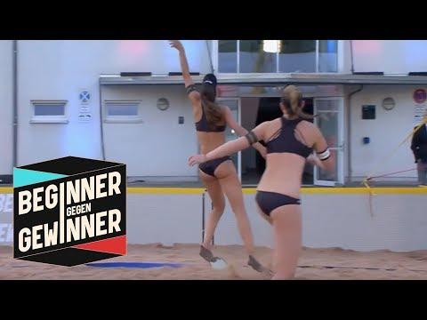 Beachvolleyball: Die Profis spielen mit Schwimmflossen!    Beginner gegen Gewinner   ProSieben