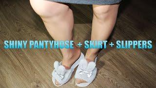 Shiny pantyhose + skirt + slippers // Телесные блестящие колготки + Юбка карандаш + тапочки