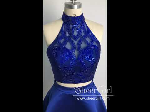 Royal Blue Two Piece Homecoming Dress Open Back Beaded Short Prom Dress ARD1712