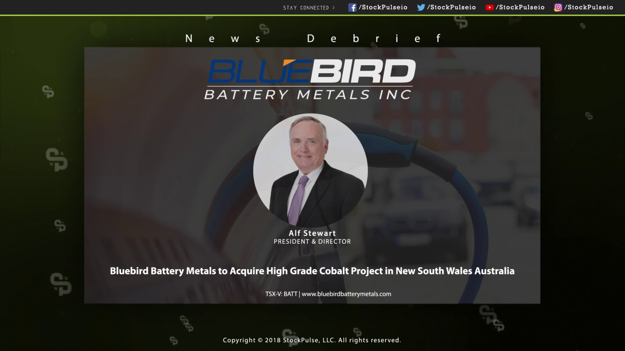Bluebird Battery Metals to Acquire High Grade Cobalt Project in New South Wales Australia
