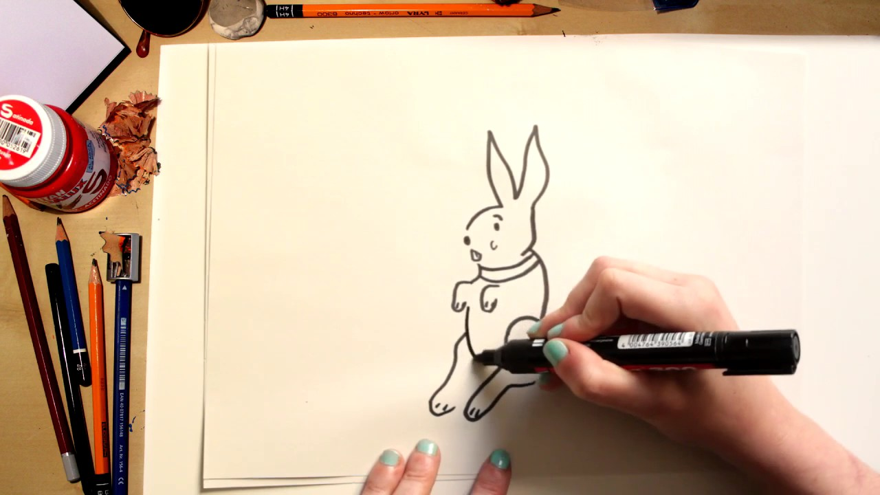????⚡Como dibujar un conejo de Pascua fácil! (comentado)