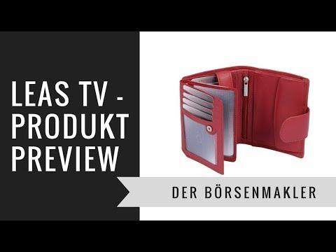 LEAS TV Der Börsenmakler - Platzwunder Damen Geldbeutel Leder mit Verschluss rot Handmade