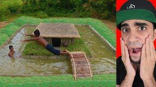 """رجل الغابة يبني مسبح حول منزل سري """" ذكاء """""""