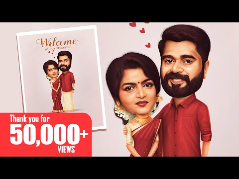 how to draw a wedding couple caricature by praveen c raj