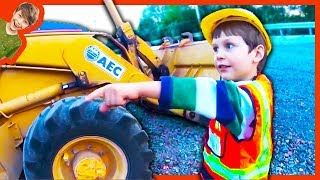 At the Construction Truck Site with Axel and Daddy (Flashback)