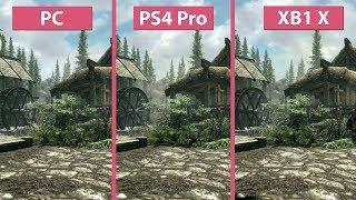 [4K] TESV Skyrim – PC vs. PS4 Pro vs. Xbox One X Frame Rate Test & Graphics Comparison
