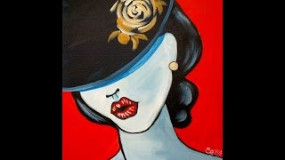 Pop Art Girl With A Hat Fashion Acrylic Painting Tutorial For Beginners | TheArtSherpa