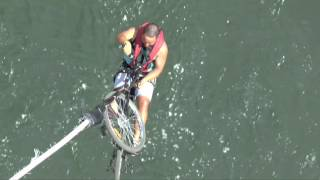 Riders Bungee-Cycle off Victoria Falls Bridge