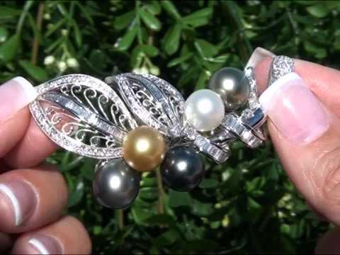 Museum Quality Tahitian Pearl & Diamond Pendant Set In 18K White Gold Circa 1981 Top Gem